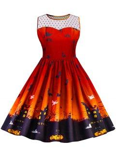 Halloween Lace Panel Plus Size Dress - Orange 5xl