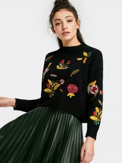 Floral Patched Drop Shoulder Sweater - Black