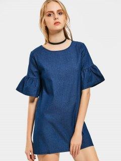 Flare Sleeve Shift Chambray Dress - Deep Blue S