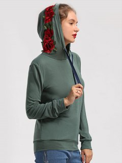 Floral Patchwork Drawstring Hoodie - Army Green S