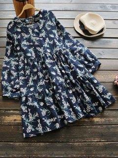 V Neck Tiny Floral Long Sleeve Dress - Floral