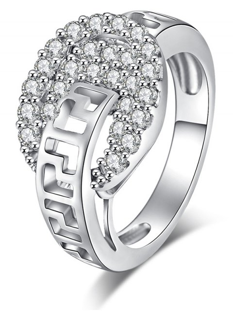 womens Zircon Hollow Out Carve Metal Ring - SILVER 9 Mobile