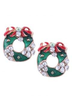 Rhinestone Christmas Wreath Stud Tiny Earrings - Green