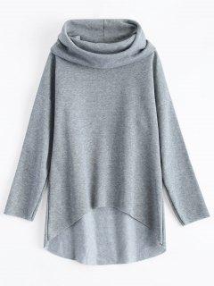 High-Low Tunic Hoodie - Gray M