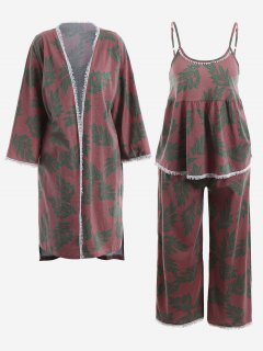 Pajamas Leaf Print Kimono And Cami Top And Pants - Russet-red Xl