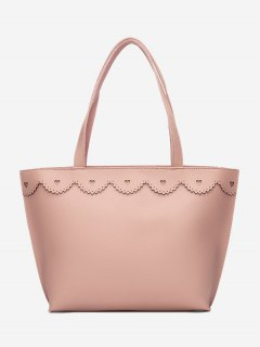 Faux Leather Heart Pattern Shoulder Bag - Pink
