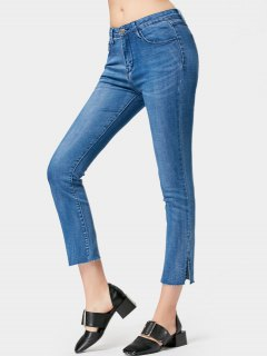 Side Slit Ninth Boot Cut Jeans - Denim Blue M