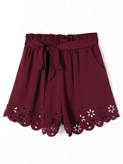 Hollow Out Pockets Scalloped Shorts With Belt - Wine Red S