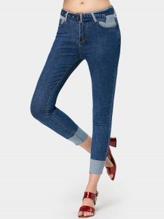 Skinny Contrasting Belted Pencil Jeans - Denim Blue Xl