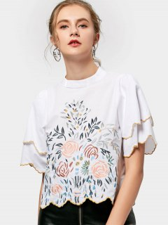 Layered Sleeve Scalloped Embroidered Blouse - White S