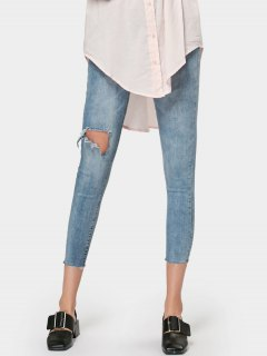 Ninth Skinny Destroyed Pencil Jeans - Denim Blue L