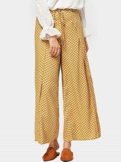 High Slit Geometric Wide Leg Pants - Yellow L