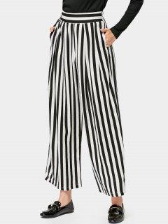 Elastic Waist Casual Stripes Wide Leg Pants - Stripe L