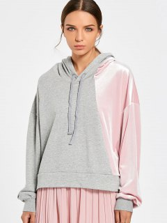 Color Block Cut Out Velvet Panel Hoodie - Pink And Grey S