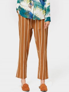 Elastic Waist Stripes Straight Pants - Yellow S