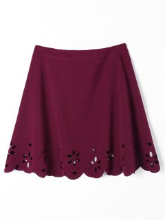 Scalloped Hollow Out A Line Skirt - Wine Red Xl