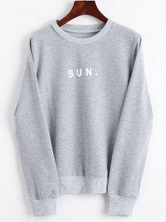 Crew Neck Letter Graphic Sweatshirt - Gray M
