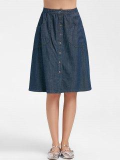 Button Up A Line Midi Denim Skirt - Denim Blue L