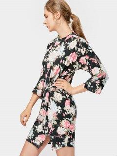 Floral Draped Bodycon Mini Dress - Black S