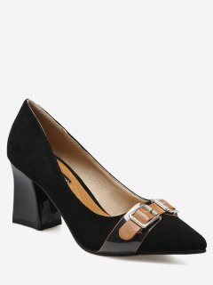 Chunky Heel Buckle Strap Suede Pumps - Black 38