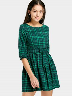 Checked Belted A Line Dress - Green M