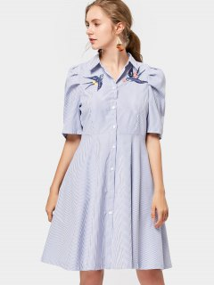 Bird Embroidered Stripes Shirt Dress - Stripe S