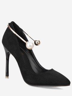 Ankle Strap Faux Pearl Stiletto Pumps - Black 39
