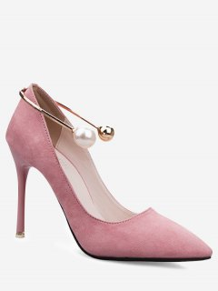 Ankle Strap Faux Pearl Stiletto Pumps - Pink 38