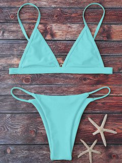 Cami Plunge String Bikini Set - Light Blue S