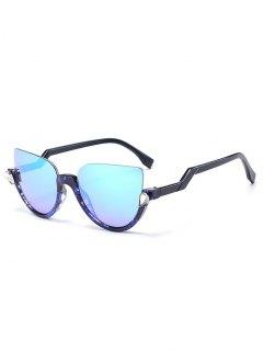 Half Frame Cat Eye Sunglasses - Transparent Blue Frame + Blue Lens