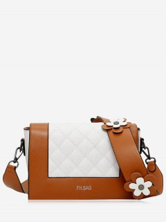 Flower Quilted Color Block Crossbody Bag - Brown