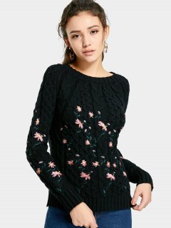 Cable Knitted  Pullover Embroidered Sweater - Black