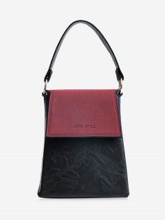 Embossing Color Block Faux Leather Handbag - Wine Red