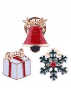 Christmas Bell Snowflake Bows Gift Brooches - Red