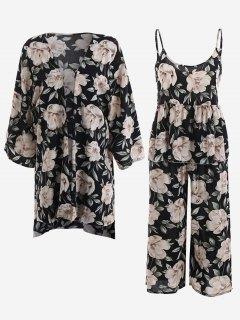 Pajamas Peony Print Kimono And Cami Top And Pants - Black M