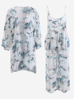 Pajamas Chinese Painting Kimono And Cami Top And Pants - White M