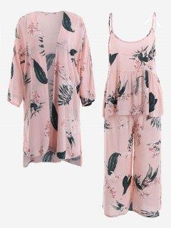 Pajamas Lily Print Kimono And Cami Top And Pants - Pink Xl