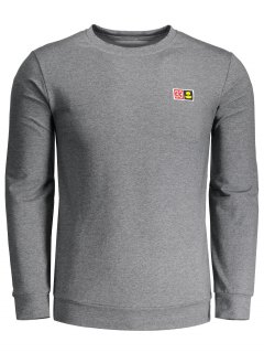 Crew Neck Patch Sweatshirt - Gray Xl