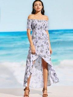 Off Shoulder Smocked Floral Slit Maxi Beach Dress - Floral S