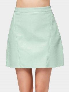 Side Zip Faux Leather Mini Skirt - Light Green Xs