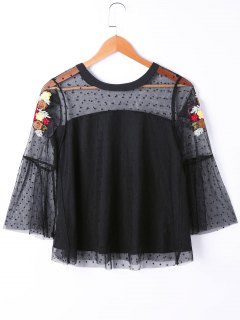 See Thru Floral Embroidered Polka Dot Overlay Top - Black 2xl