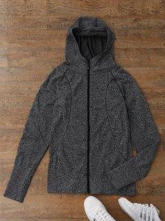 Heathered Hooded Sports Jacket - Dark Grey S