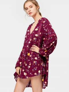 Long Sleeve High Low Floral Tunic Dress - Purplish Red L