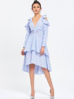 Ruffle Layered Striped Cold Shoulder Dress - Blue Stripe 2xl