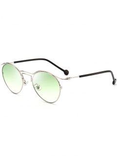 Retro Pilot Sunglasses With Metal Frame - Silver Frame + Green Mercury Lens
