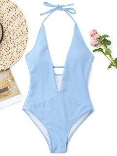 Ribbed Plunge Neckline Plaited Swimwear - Light Blue M