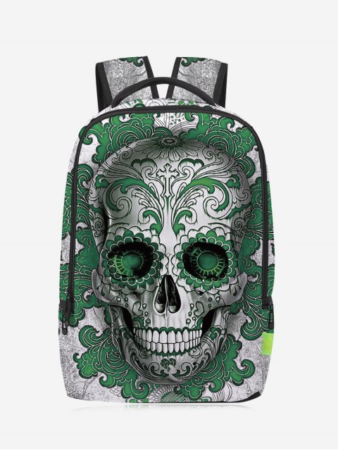 outfits Canvas Skull Zips Backpack - GREEN  Mobile