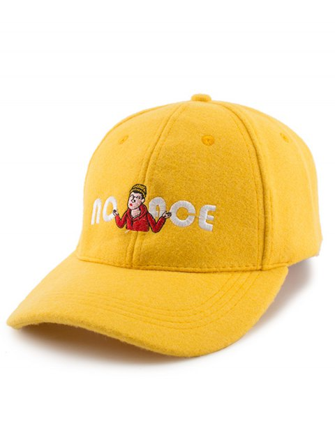 Cartoon Figure Letters Broderie Felt Baseball Hat - Jaune  Mobile