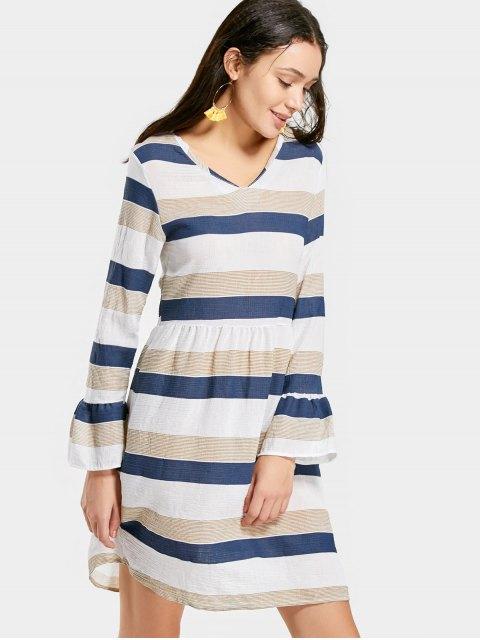 womens V Neck Flare Sleeve Striped Dress - STRIPE S Mobile