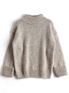 Loose Heathered Mock Neck Sweater - Apricot